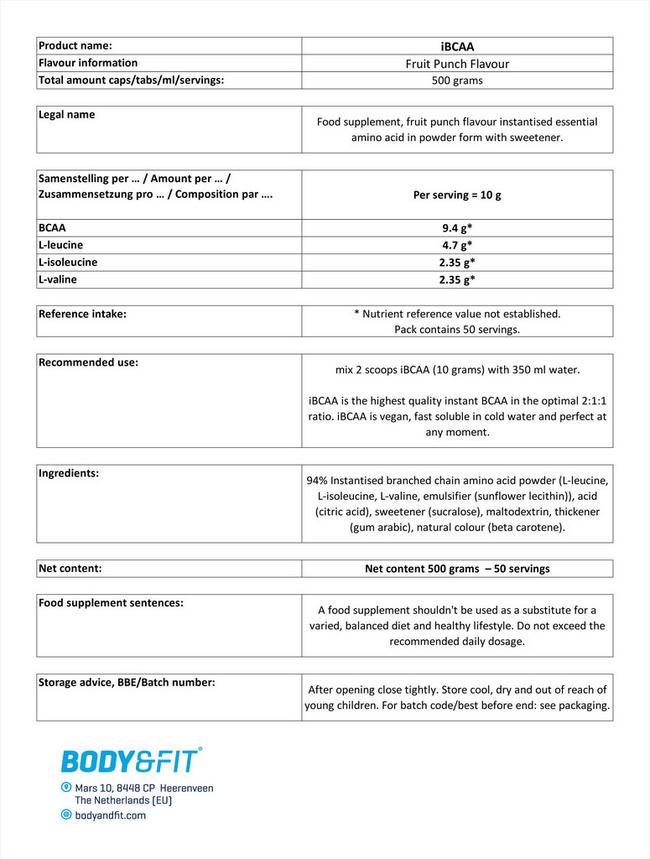 iBCAA Nutritional Information 1