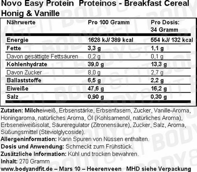 Proteinos - Breakfast Cereal Nutritional Information 1