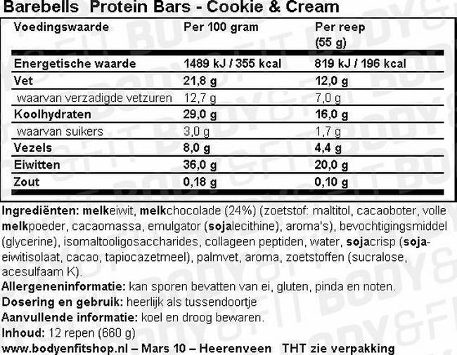 Barebells Protein Bars Nutritional Information 1