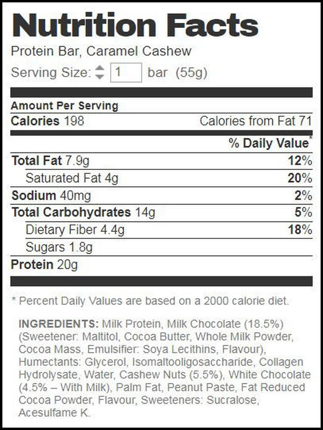 Barebells Protein Bars Nutritional Information 3