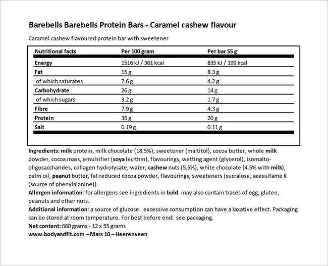 Barebells Protein Bars Nutritional Information 4