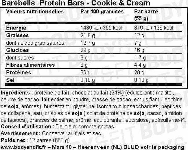 Barres protéinées Barebells Protein Bars Nutritional Information 1