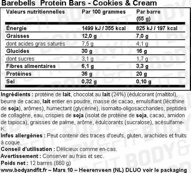 Barres protéinées Barebells Protein Bars Nutritional Information 2