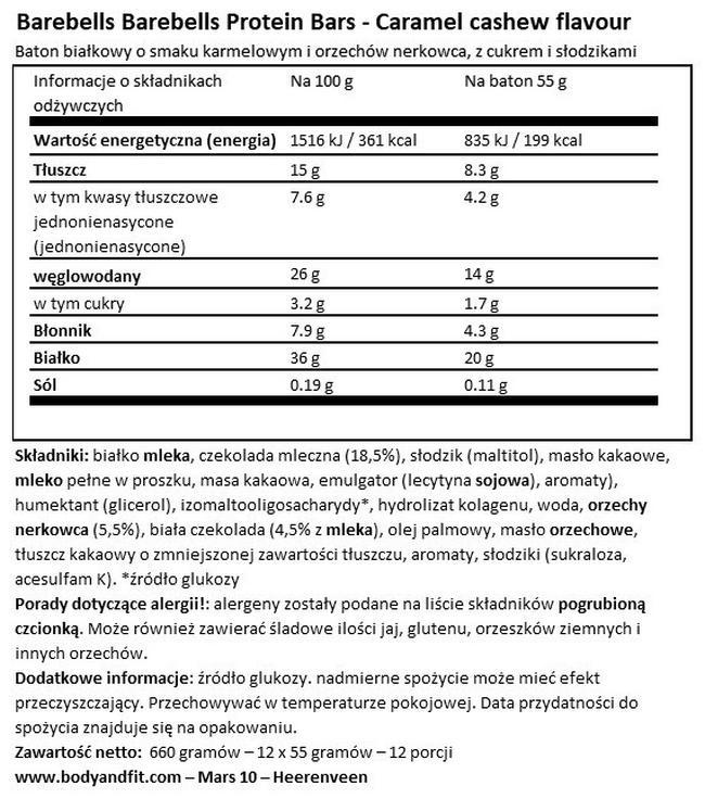 Barebells Protein Bars Nutritional Information 1