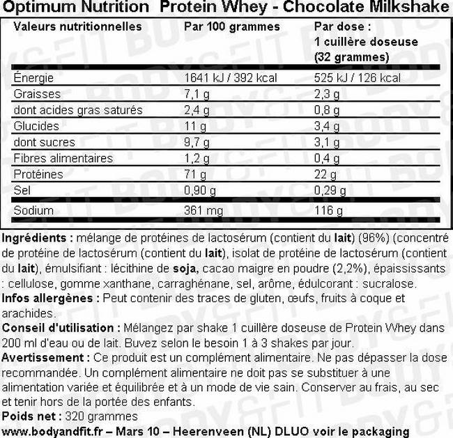 Optimum Protein Whey Nutritional Information 2