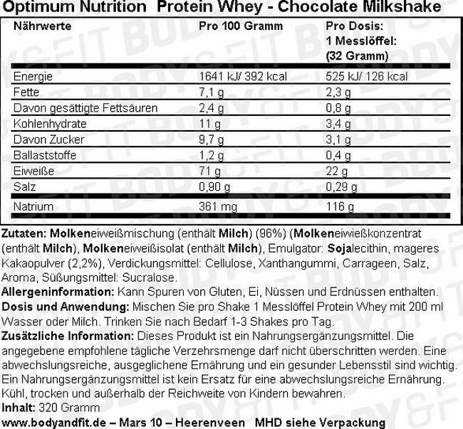 Optimum Protein Whey Nutritional Information 3