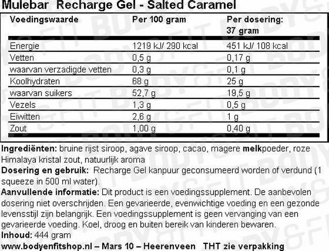 Recharge Gel Nutritional Information 1