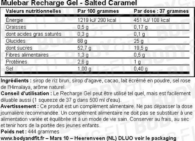 Recharge Gel Nutritional Information 2