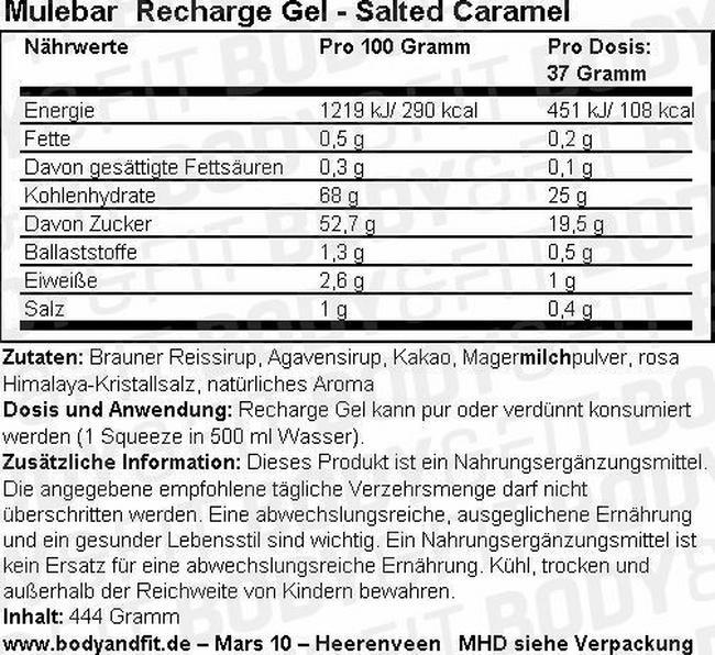 Recharge Gel Nutritional Information 3