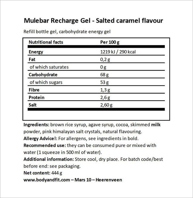 Recharge Gel Nutritional Information 4