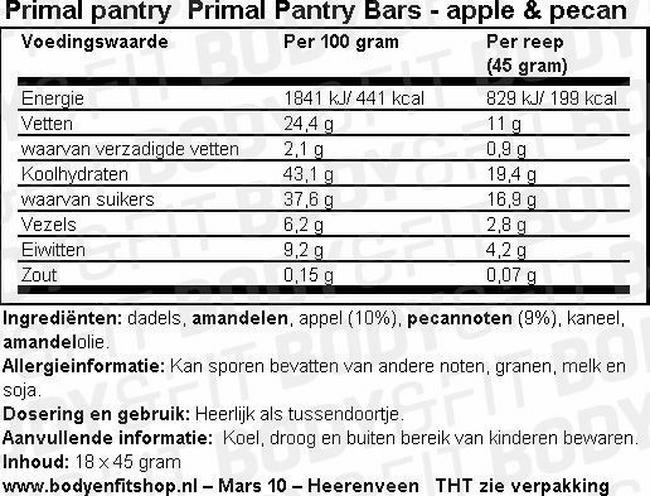 Primal Pantry Bars Nutritional Information 1