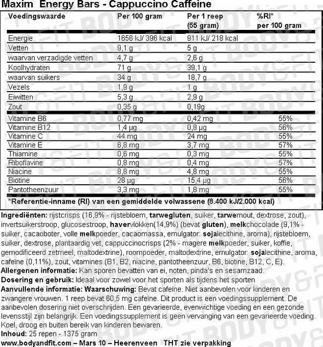 Energy Bars Nutritional Information 2
