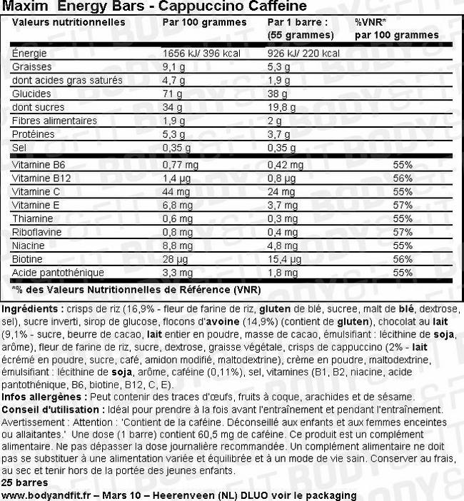 Energy Bars Nutritional Information 4