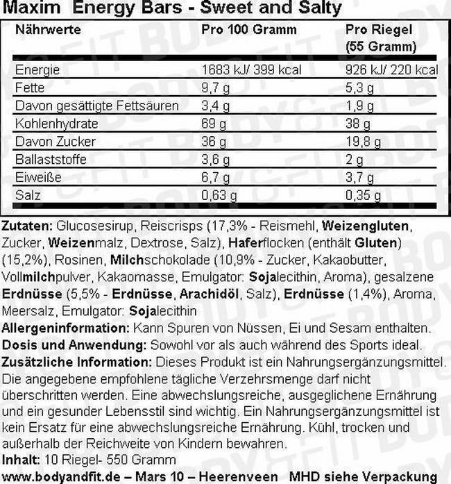 Energy Bars Nutritional Information 5