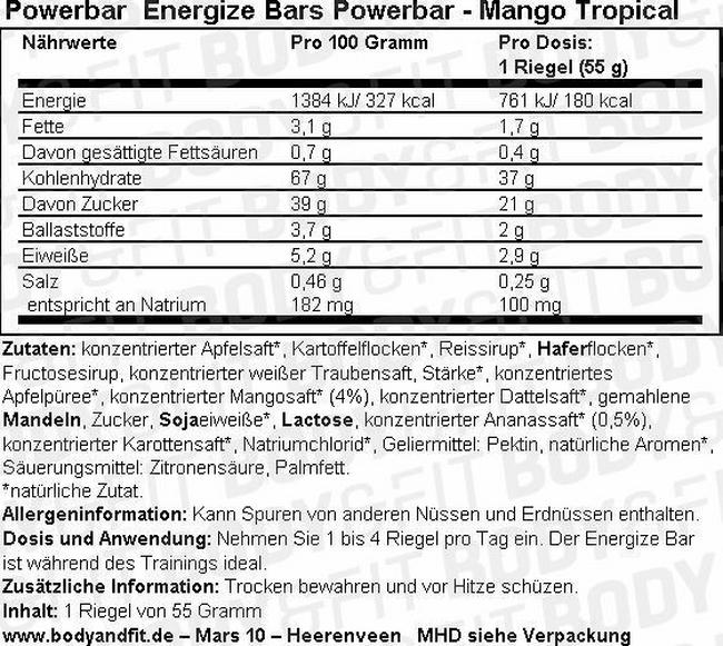 Energize Bars Powerbar Nutritional Information 1