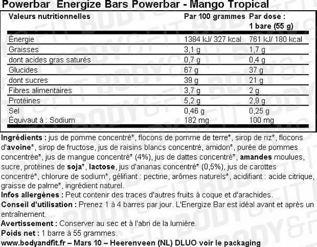 Barre Energize Bar Nutritional Information 1