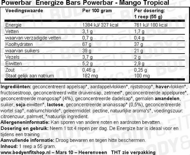 Energize Bar Nutritional Information 1