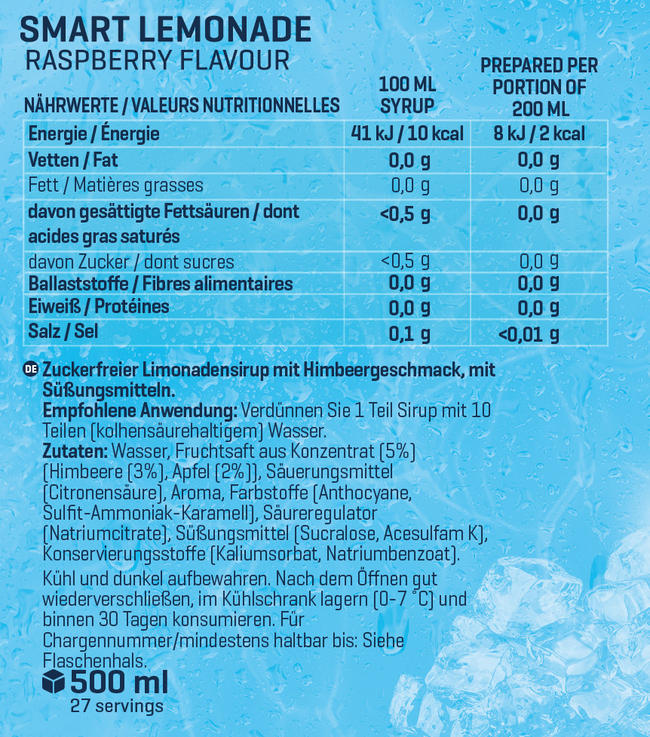 Smart Limonadensirup Nutritional Information 1