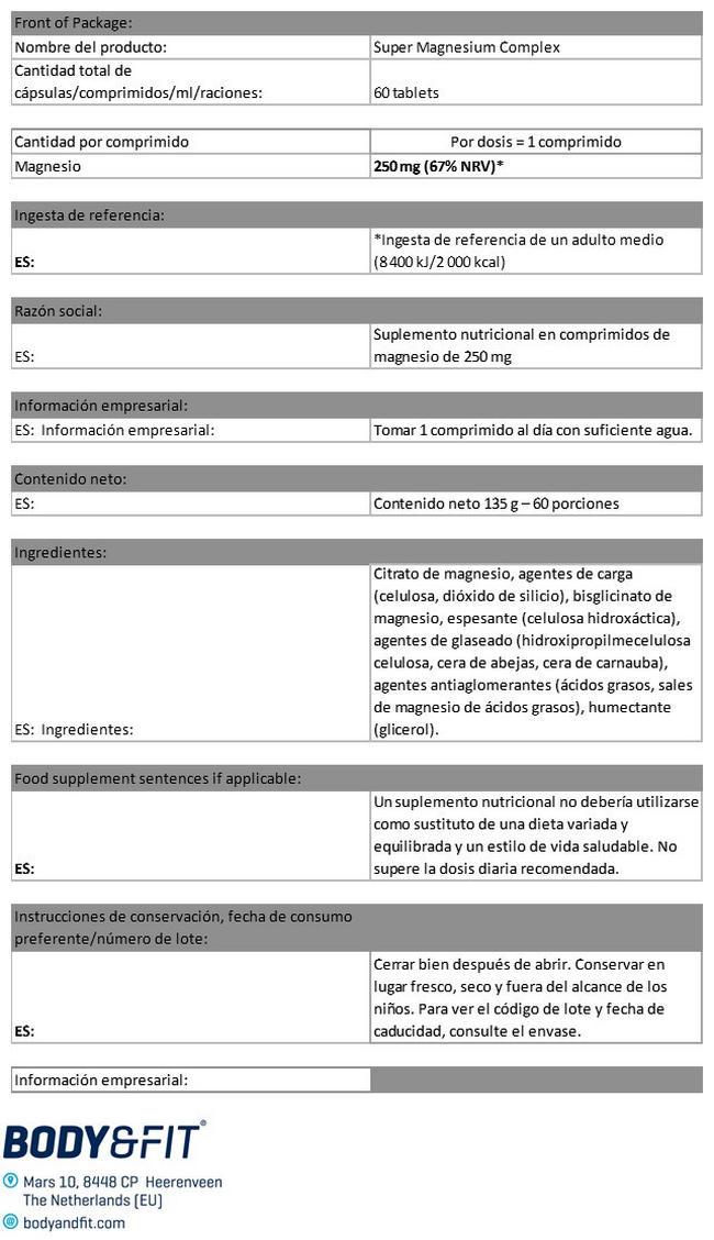 Complejo de magnesio Nutritional Information 1