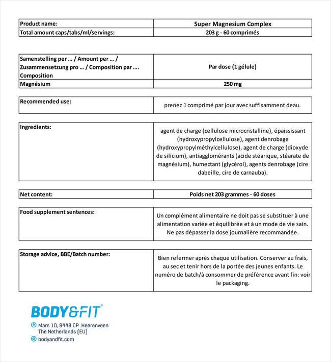 Super Magnesium Complex Nutritional Information 1