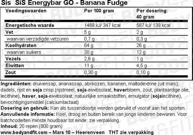 SiS Energybar GO Nutritional Information 1
