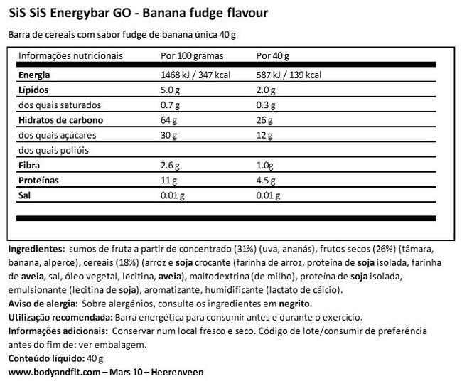 GO Energy Bar Nutritional Information 1