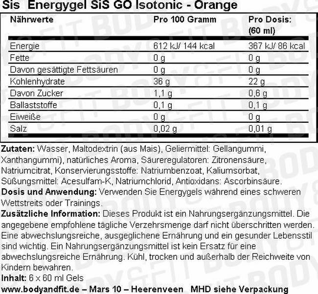 SiS Energygel GO Isotonic Nutritional Information 1