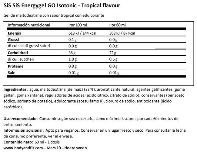 GO Energy Gel Isotonic Nutritional Information 1