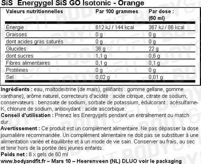 Gel énergétique isotonique GO Energy Gel Isotonic Nutritional Information 1
