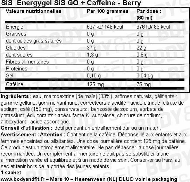 Gel énergétique GO Energy Gel + Caffeine Nutritional Information 1