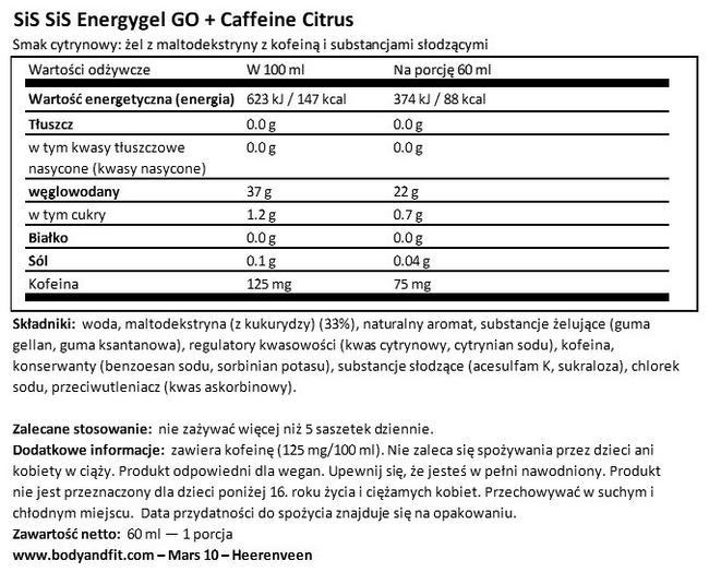 GO Energy Gel + Caffeine Nutritional Information 1