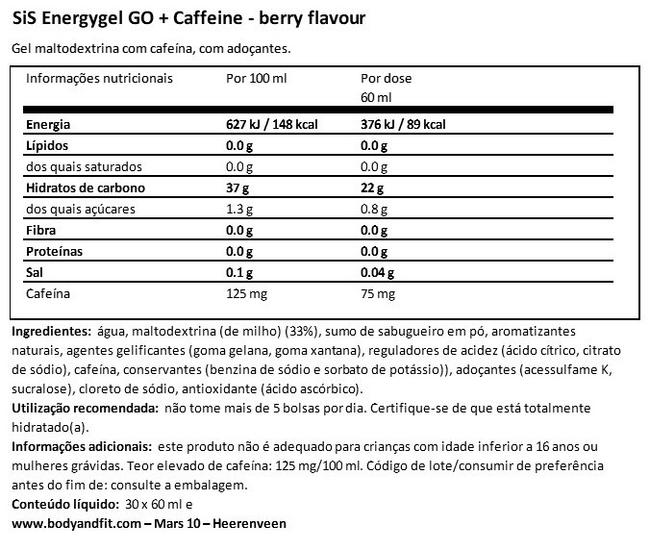 GO Energy Gel + Caffeine Nutritional Information 1