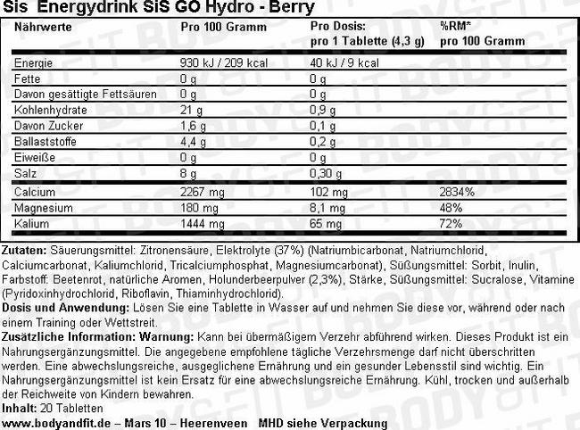 SiS Energydrink GO Hydro Nutritional Information 1