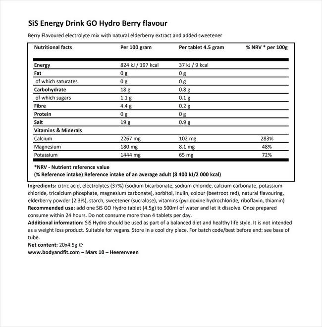 SiS Energy drink GO Hydro Nutritional Information 1