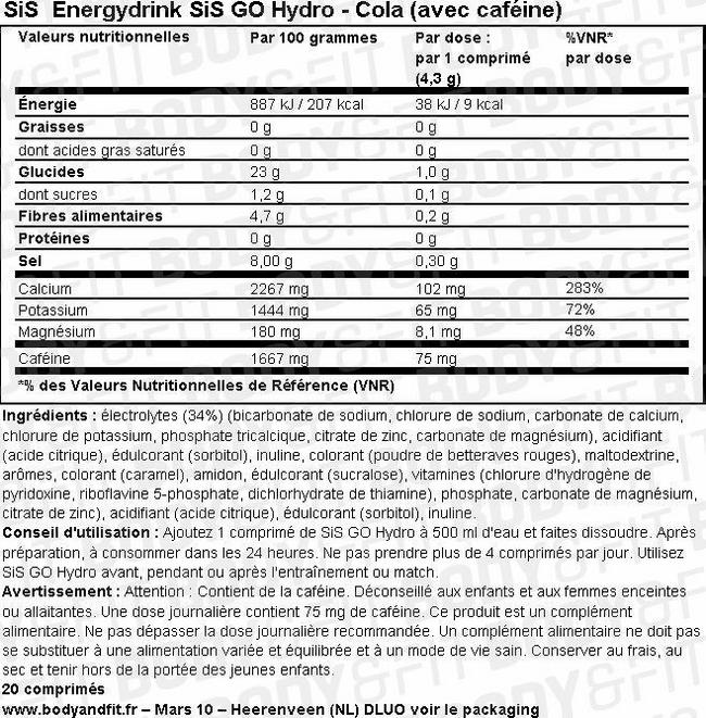SiS Energydrink GO Hydro Nutritional Information 2
