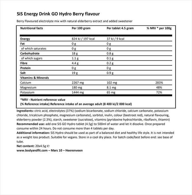 SiS エナジードリンク ゴー ハイドロ Nutritional Information 1