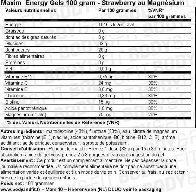Maxim Instant Energy Gels 100 grammes Nutritional Information 1