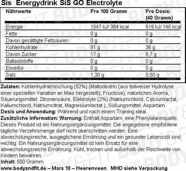 SiS Energydrink GO Electrolyte Nutritional Information 1
