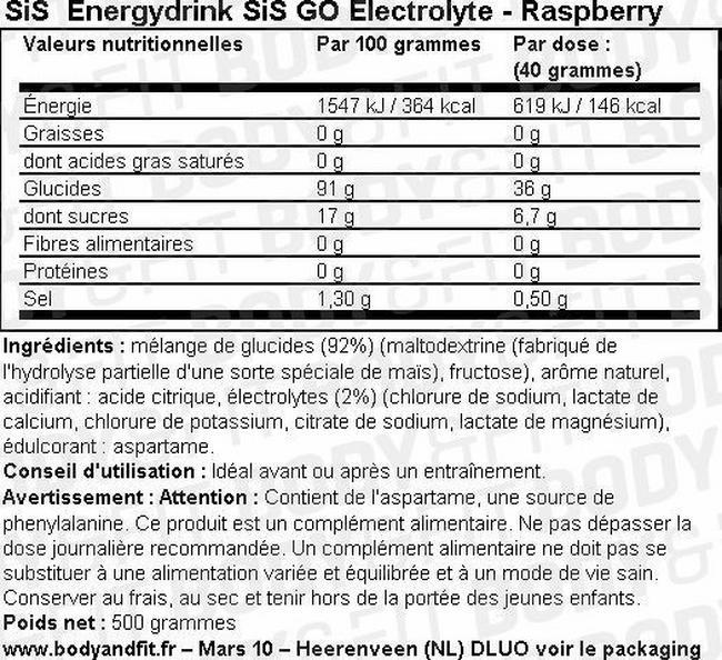 Boisson énergétique SiS Energy Drink GO Electrolyte Nutritional Information 1