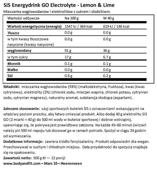 SiS Energy drink GO Electrolyte Nutritional Information 1