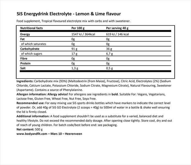 SiS Energy drink GO Energy Nutritional Information 1
