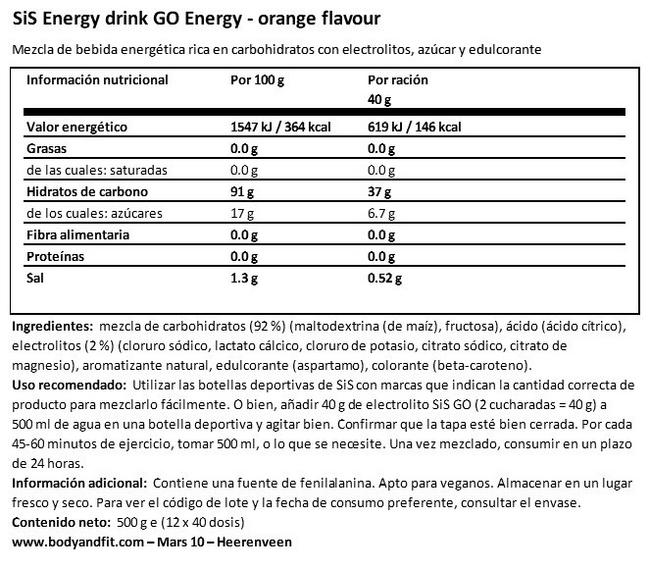 SiS Energy drink GO Energy Nutritional Information 1