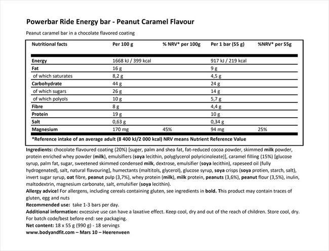 라이드 에너지 바 Nutritional Information 1