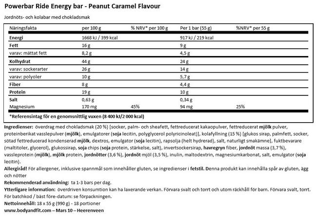 Ride Energy Bar Nutritional Information 1
