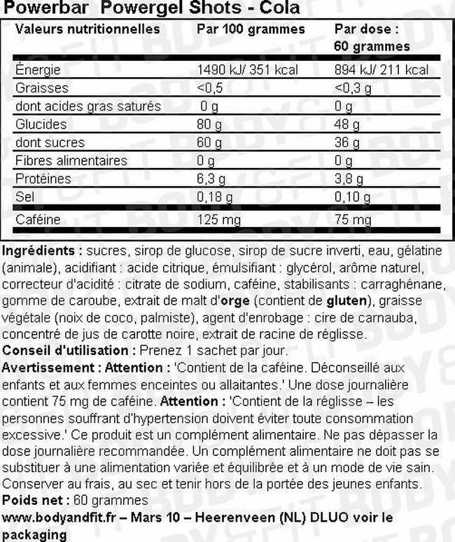 Gommes riches en glucides PowerGel Shots Nutritional Information 1