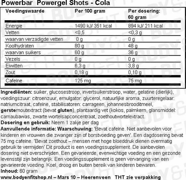 Powergel Shots Nutritional Information 1