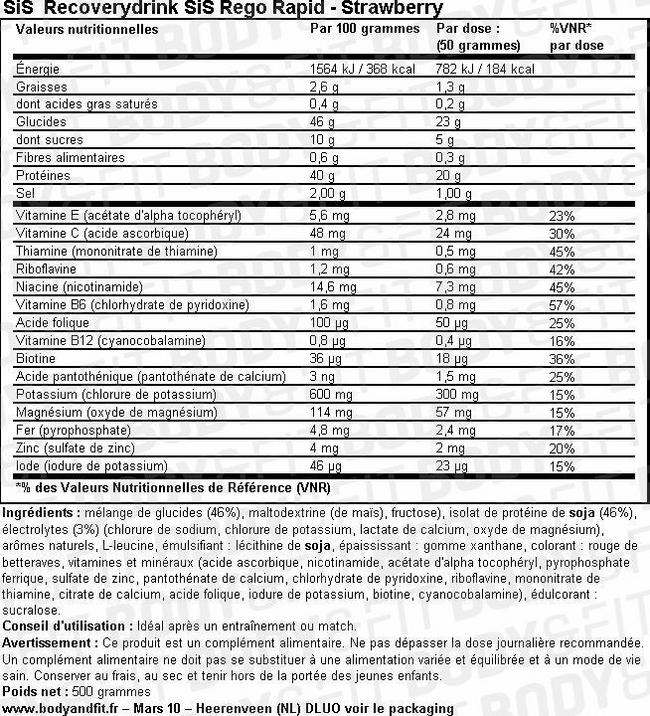 SiS Recoverydrink Rego Rapid Nutritional Information 1