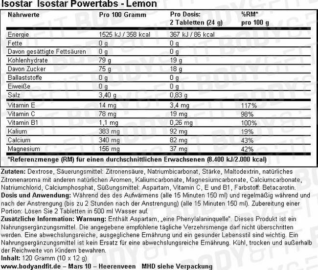 Isostar Powertabs Nutritional Information 1