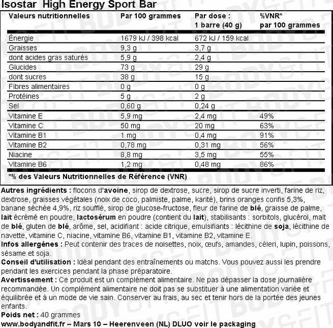 High Energy Sport Bar Nutritional Information 1
