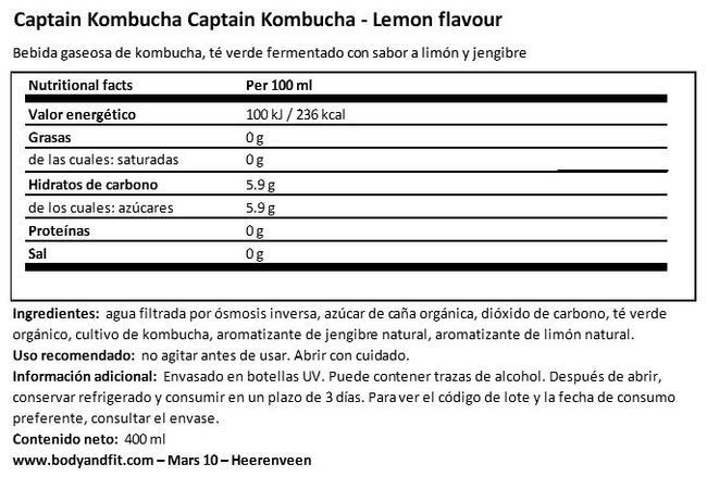 Captain Kombucha Nutritional Information 1